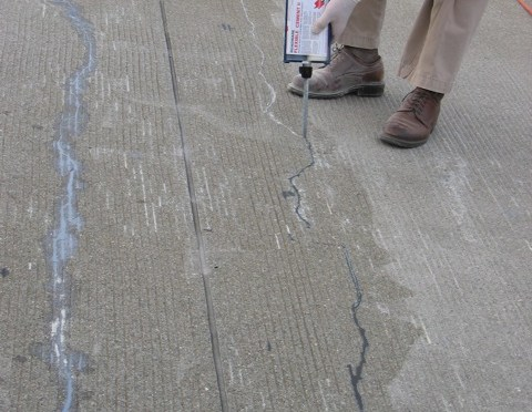 Airport terminal deck repair after 5 years.