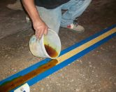 Yellow Concrete Mender™ cures to a bright safety yellow color in minutes.
