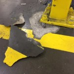 Floor repair stands up to forklift damage.