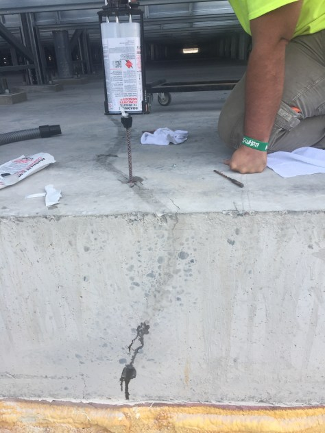 Concrete Mender crack injection into 24 inches of concrete.