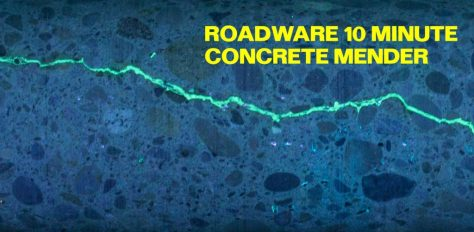 Roadware 10 Minute Concrete Mender injected deep into cracks using the Roadware Easy Injection System.