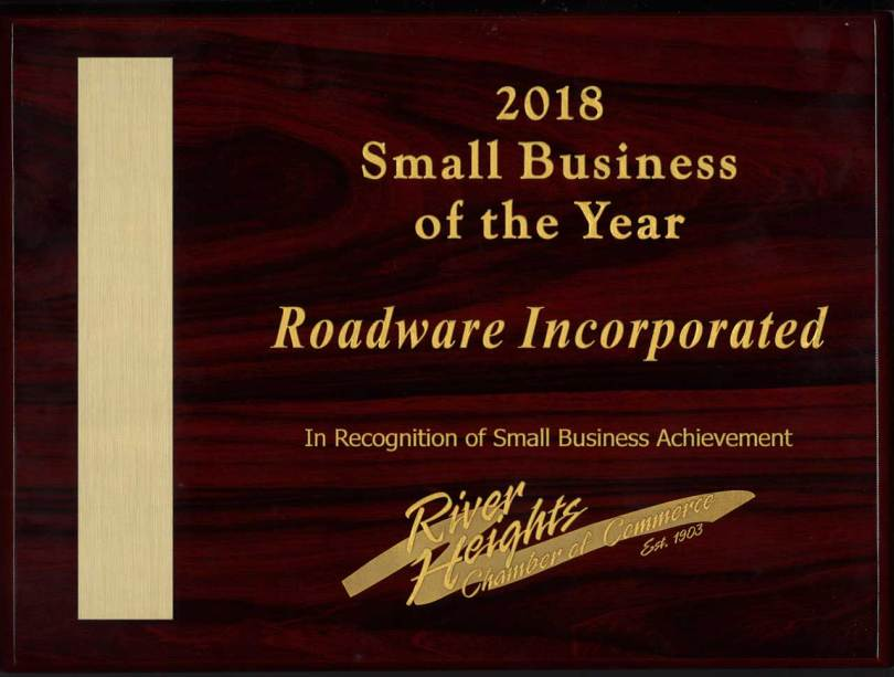Roadware Incorporated named 2018 Small Business of the Year by the River Height Chamber of Commerce.