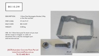 BK110.2W 110mm Fence Rectagular 2 Way Bracket w Hex Nut and Bolt