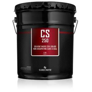 SureCrete CS250 Fresh Concrete Cure and Seal Clear Acrylic Concrete Sealer. Long lasting UV stable clear concrete sure and seal product for stamped concrete projects in Charlotte and Raleigh North Carolina.