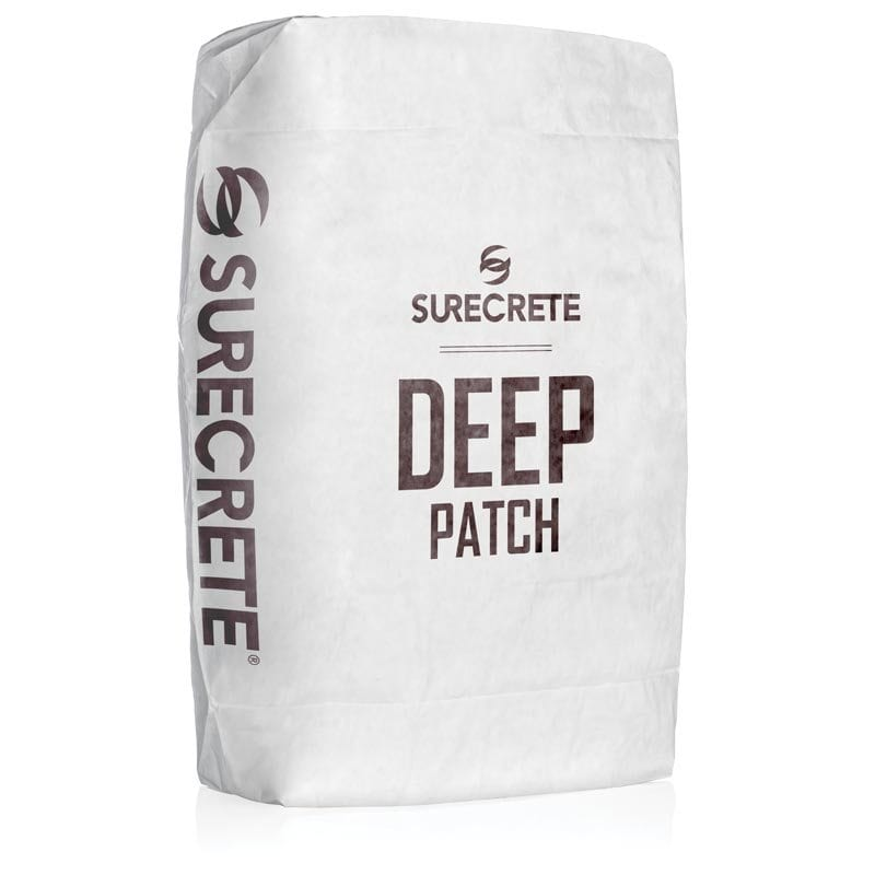 Deep Patch thick concrete repair mortar. Concrete material to fix and level concrete porches and patios. Thick concrete repair material. Deep concrete patch bag mix.