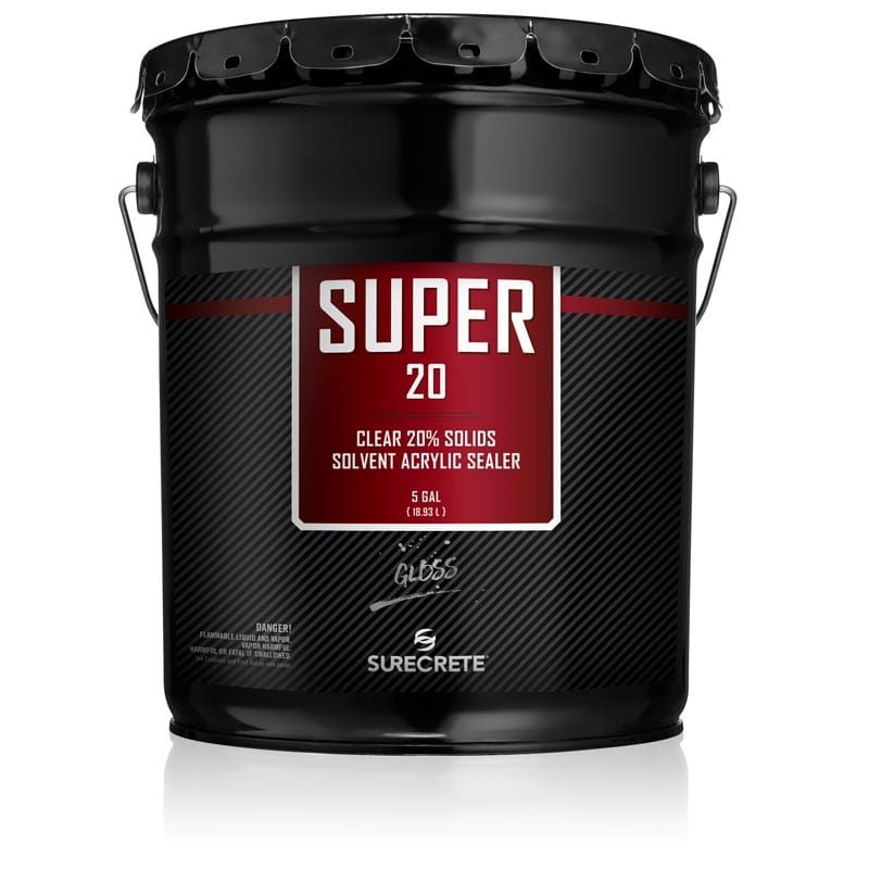 SureCrete Super 20 Clear Acrylic Concrete Driveway Sealer. Concrete sealer with twenty percent solids acrylic for penetrating sealer of decorative concrete. Stamped concrete patio sealer.
