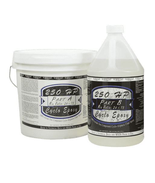 SurfKoat 250 HP Cyclo Epoxy Clear UV Stable Epoxy solid color concrete floor coating system. Thick epoxy garage floor paint product for solid color floor coating. Concrete epoxy paint in solid colors.