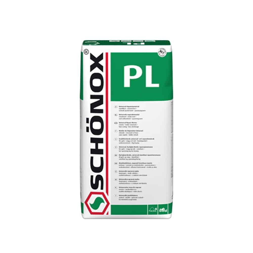 Schonox PL cement repair mortar bag mix material system for concrete surface repair. Just add water concrete surface repair system for patching concrete and leveling a concrete surface before applying a finish coat such as self leveling underlayment or a polishable overlay product.