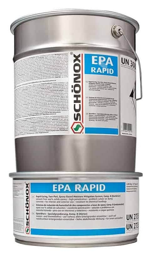 Schonox EPA Rapid Epoxy Moisture Mitigation System for high moisture vapor emission rate in concrete. 100% solids concrete moisture mitigation system to block moisture problems in wet concrete prior to the installation of floor coatings and floor coverings.