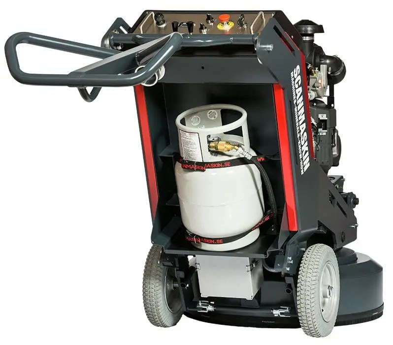 Scanmaskin World Series 32 Propane Concrete Grinding Machine that is powered by propane for fast and efficient coating removal from concrete