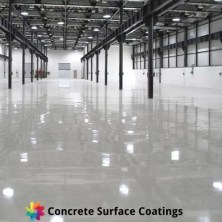 An epoxy floor coating in a warehouse