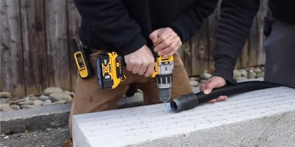 Drilling concrete with the Dewalt DCD996 cordless hammer drill