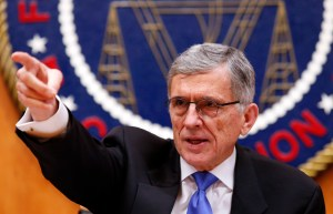Federal Communications Commission (FCC) Chairman Tom Wheeler gestures at the FCC Net Neutrality hearing