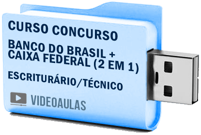 Concursos Banco Brasil + Caixa Federal Técnico Escriturário Curso Videoaulas Pendrive