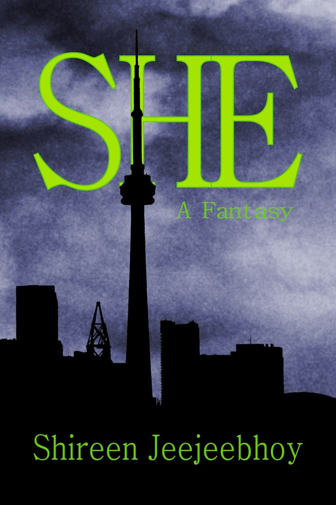 She cover with title in shocking green over purple-blue cloudy sky with silhouette of city and CN Tower in front. Shireen Jeejeebhoy at bottom.