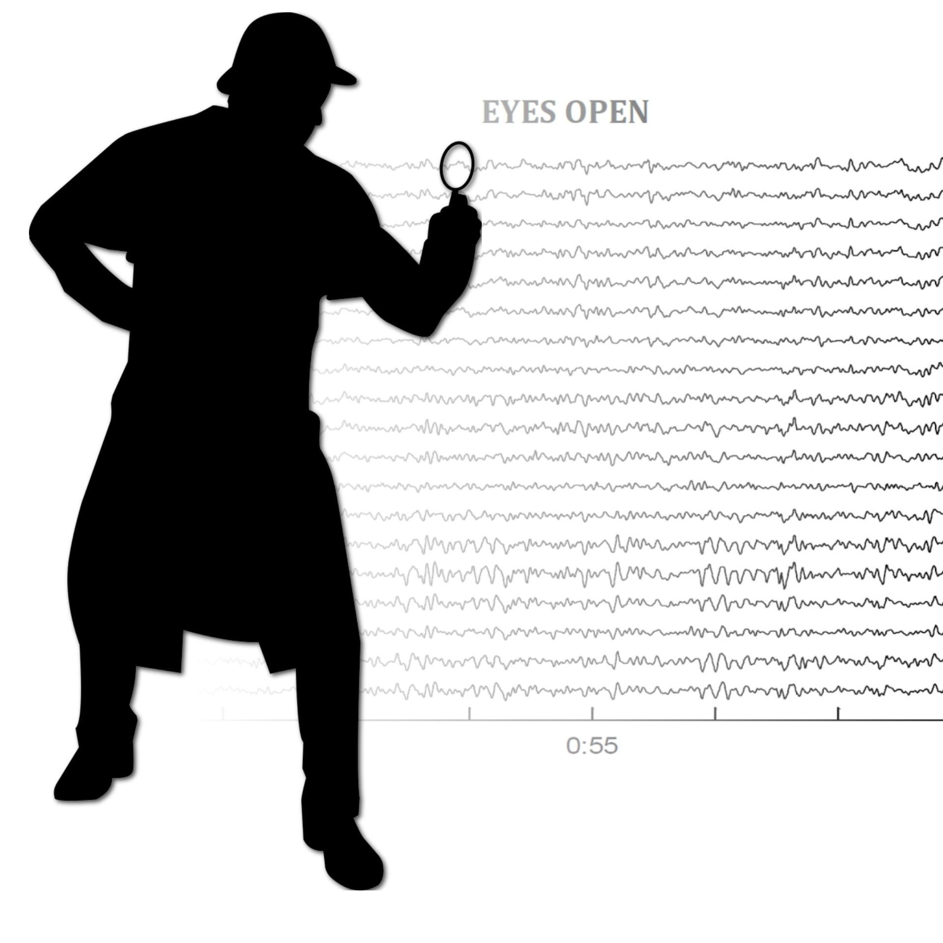 Sherlock Holmes silhouette over my eyes open EEG reading.