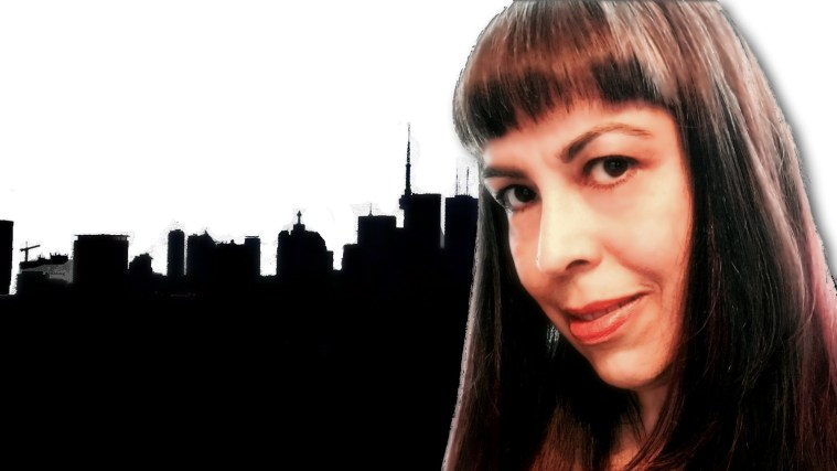 Image of me superimposed over silhouette of Toronto skyline. My photos in a collage.