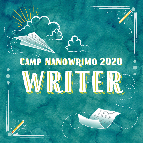 Camp NaNoWriMo Writer badge for 2020 in green with paper airplane and paper illustrations
