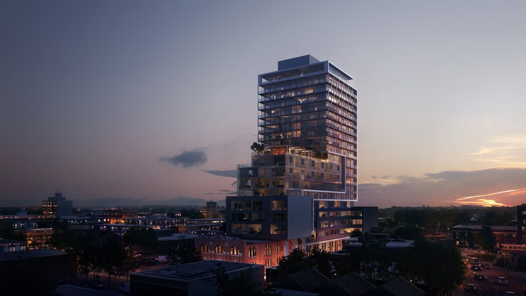 East United Condos rendering of building exterior and surrounding area at night.