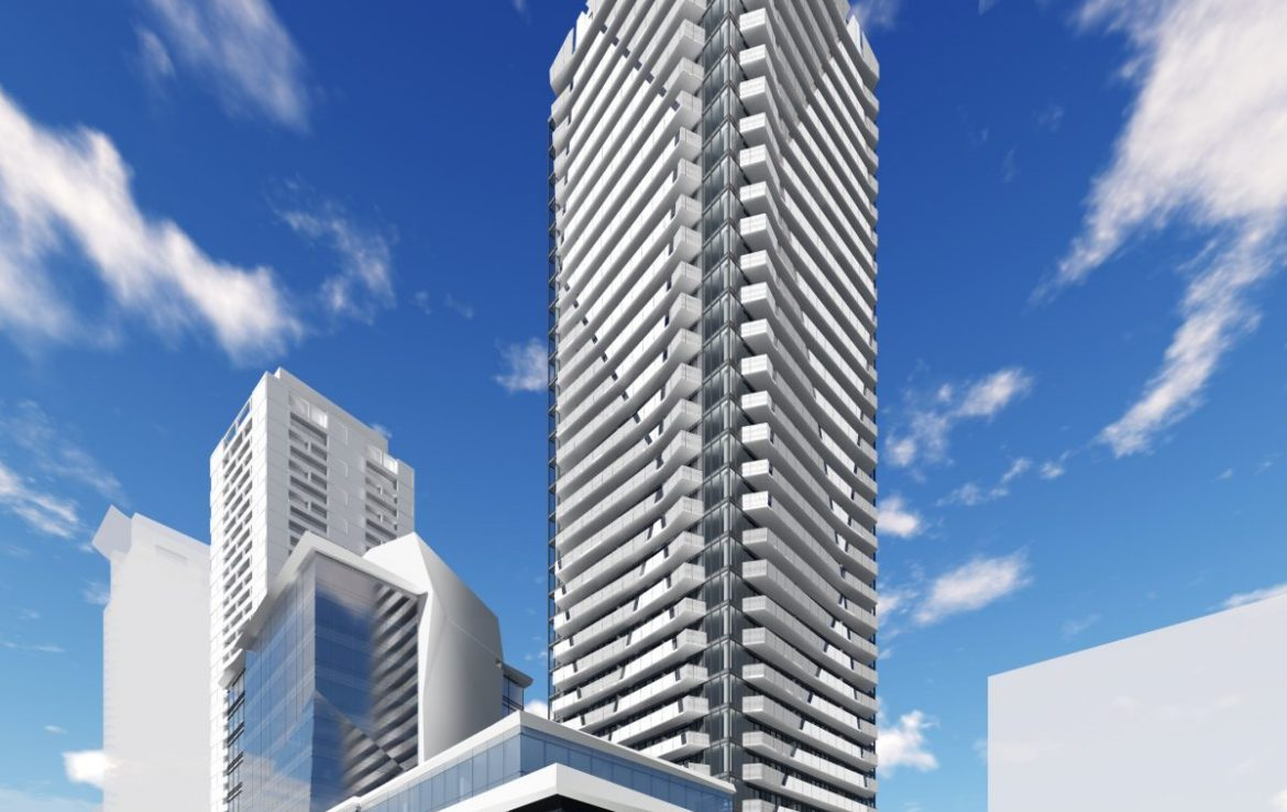 Ellie Condos exterior rendering during the day.