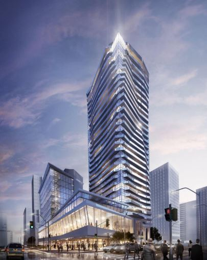 Ellie Condos exterior rendering in the evening.