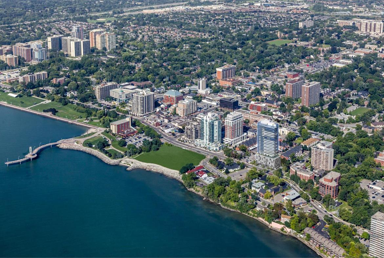 Aerial of Nautique Lakefront Residences in Burlington