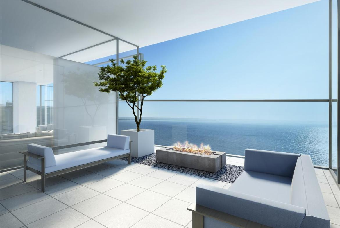Rendering of Nautique Lakefront Residences observation deck with fire pit