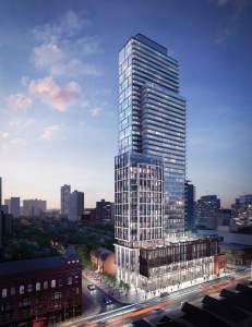 Rendering of The Gloucester on Yonge Condos exterior full view at dusk