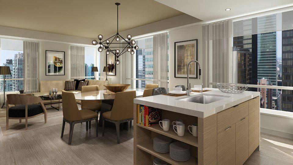 88 Scott Condos Living Area Toronto, Canada