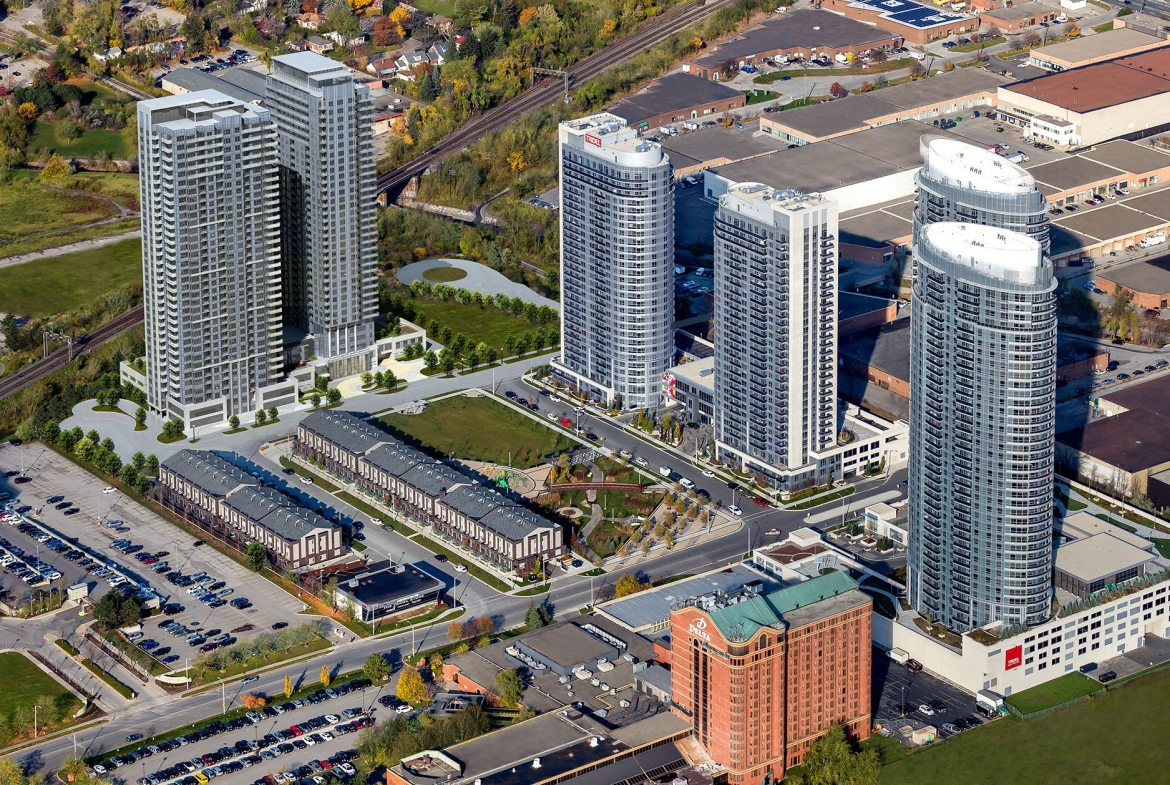 Avani and Avani2 at Metrogate Condos Aerial View Toronto, Canada
