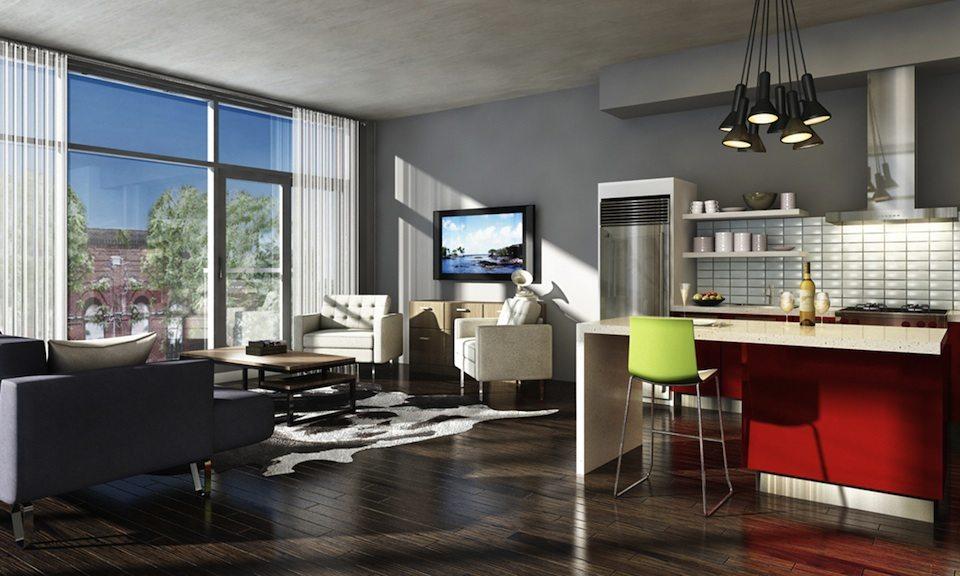Motif Lofts + Townhomes Living Area Toronto, Canada