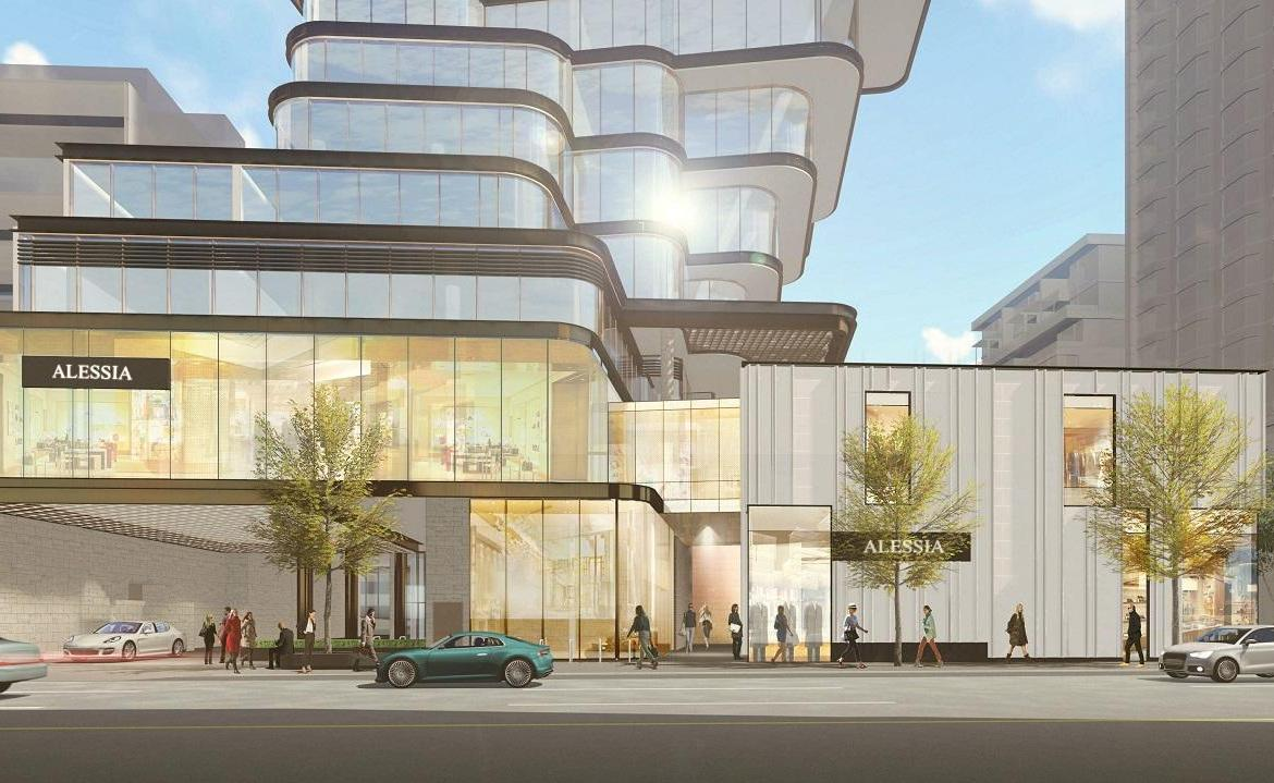 Rendering of 33 Avenue Road Condos entrance during the day.