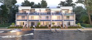 Friday Harbour Resort Condos and Towns exterior waterfront during the summer
