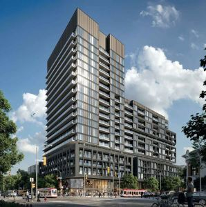 Rendering of XO Condos during the day