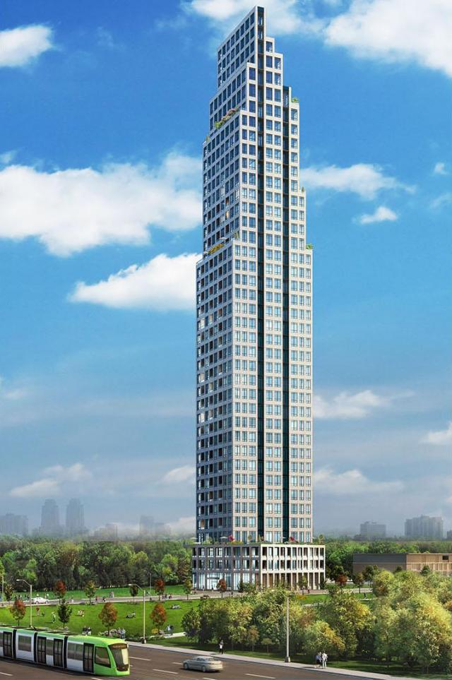 Rendering of Edge Towers building exterior full view.