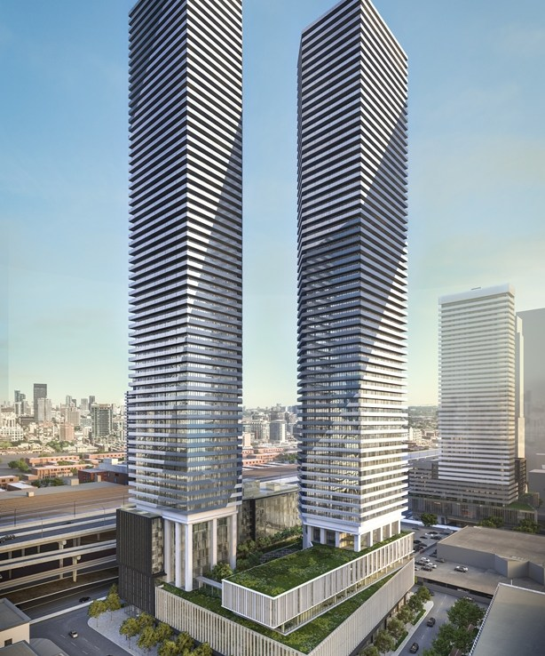 Rendering of Sugar Wharf Condos tower 1 and 2 exteriors.