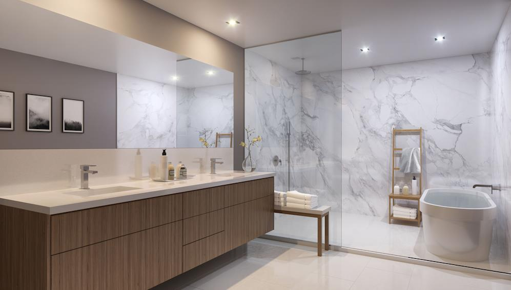 Rendering of The Vince townhouse ensuite washroom.