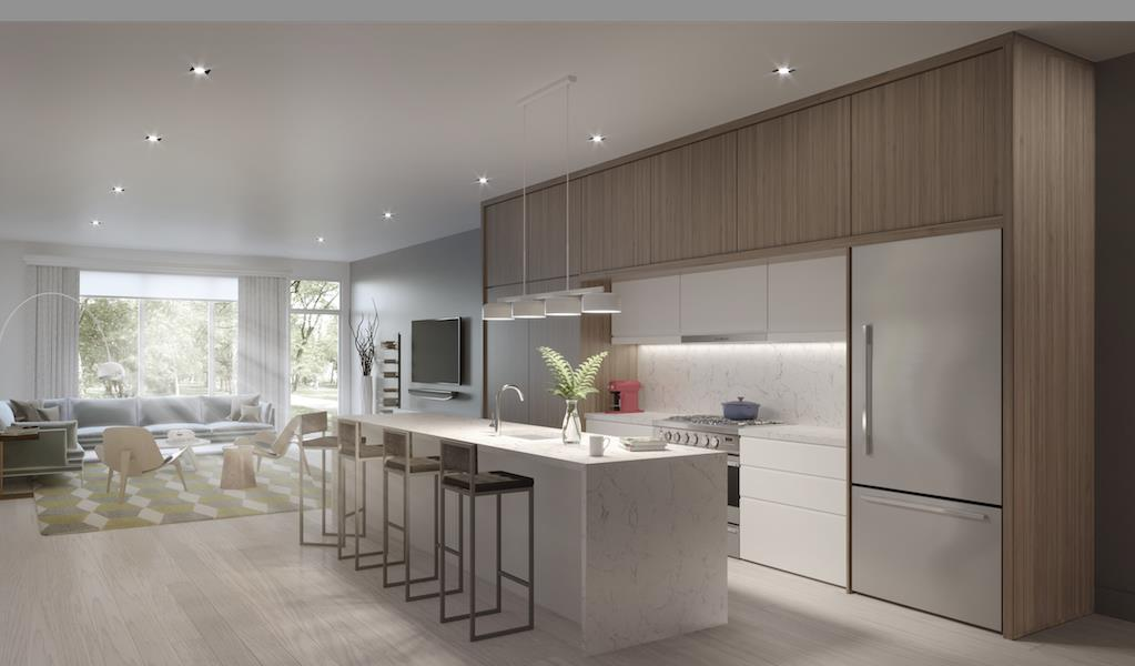Rendering of The Vince townhouse open concept kitchen and living room.