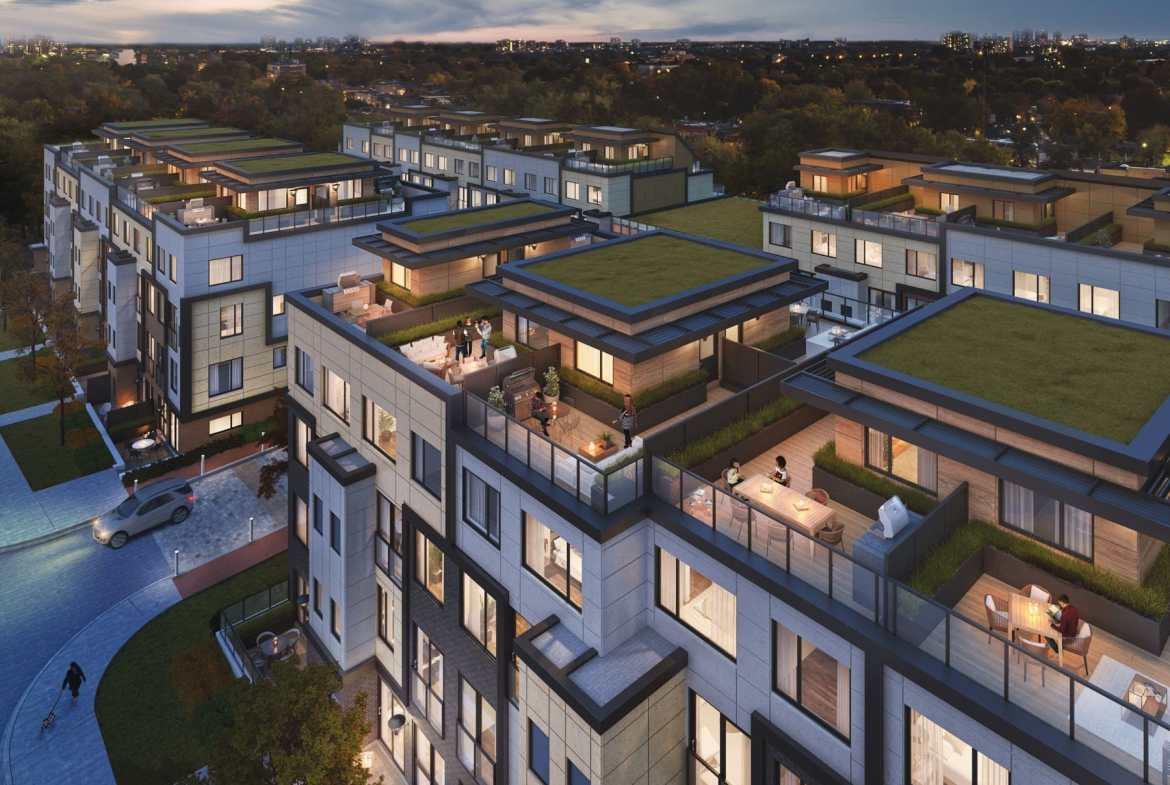 Rendering of The Vic Towns exterior rooftop terraces.