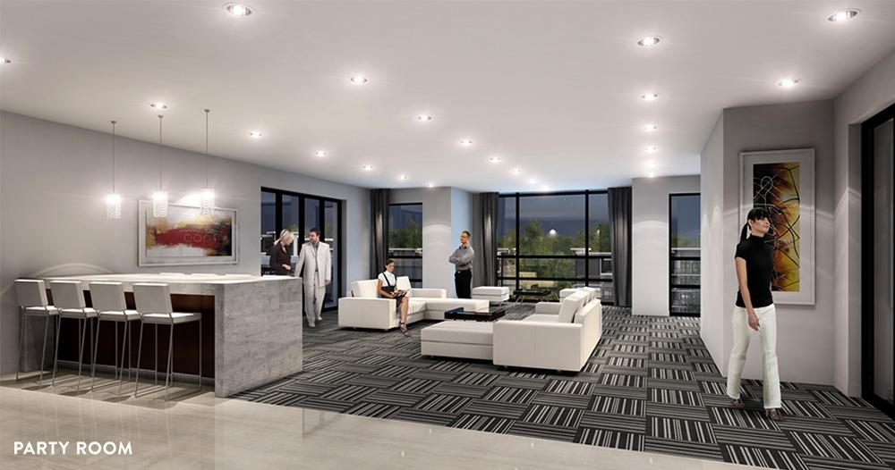 Rendering of Platinum Condos interior party room.
