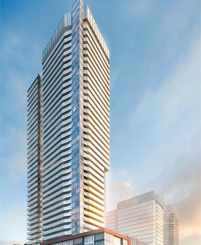 Exterior rendering of Wesley Tower in Mississauga