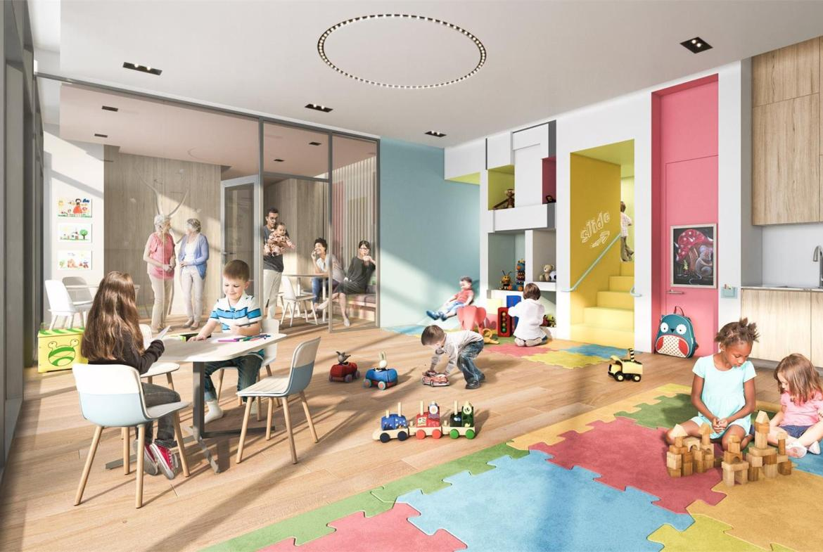 Interior rendering of Wesley Tower's childrens play area.