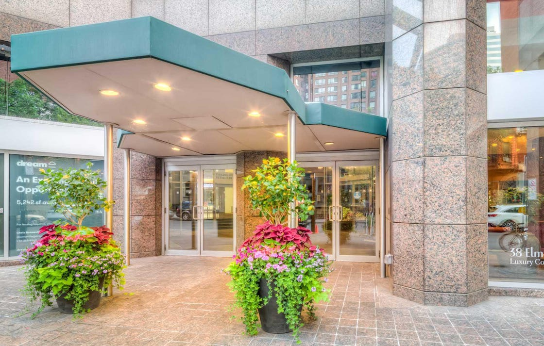 Exterior entrance to Minto Plaza Condos in Toronto