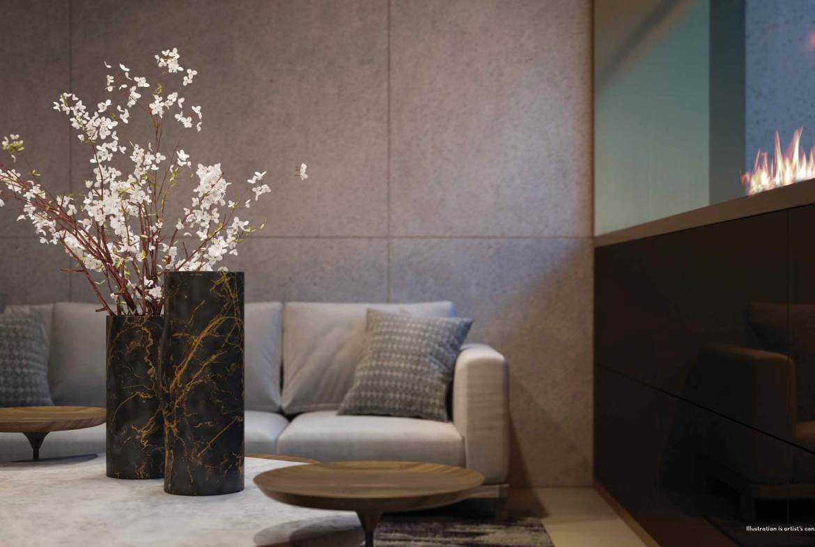 Rendering of 50 Scollard Yorkville Condos seating with luxurious decor