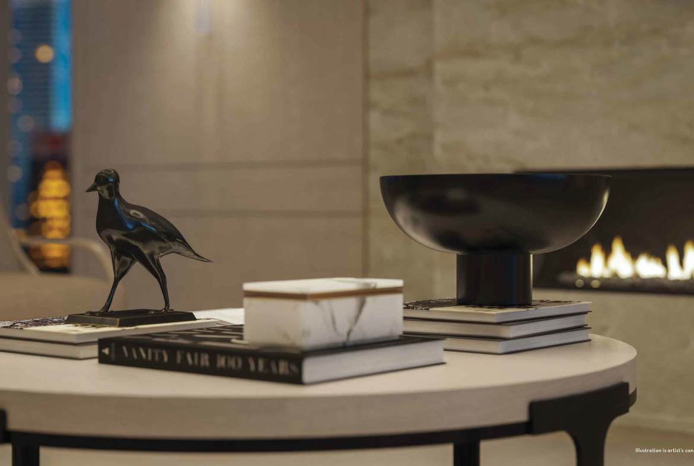 Rendering of 50 Scollard Yorkville Condos coffee table decor