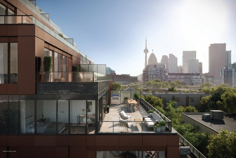 Rendering of 28 Eastern Condos private suite terrace.