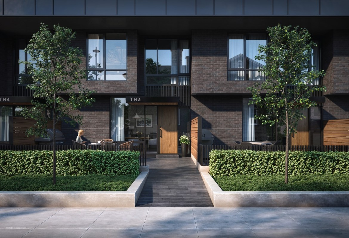 Rendering of 28 Eastern Townhome exterior.