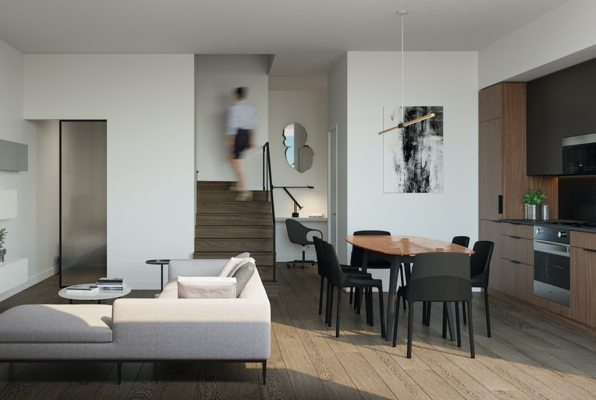 Rendering of 28 Eastern Condos townhome interior.