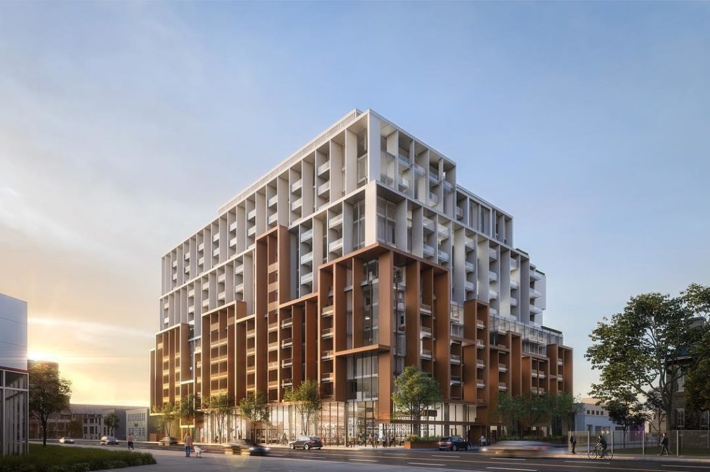 Full exterior rendering of 28 Eastern Condos and surrounding street area.