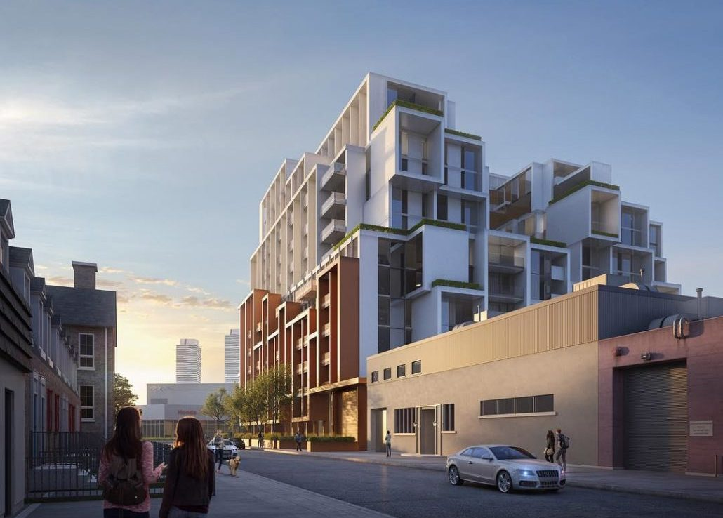 Partial side exterior rendering of 28 Eastern Condos and parking area.